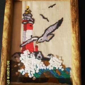 FRAMED CROSS STITCHED PICTURE  LIGHTHOUSE  BIRDS